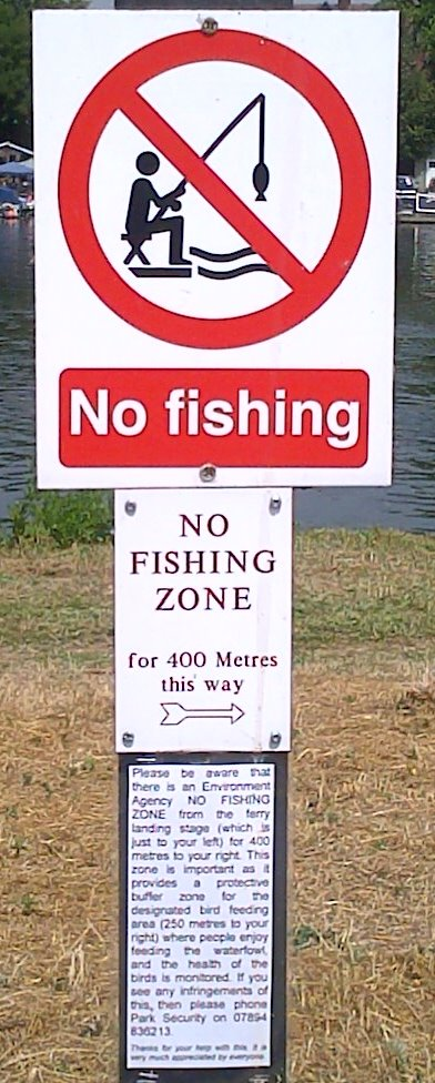 the no fishing zone in Hurst Park