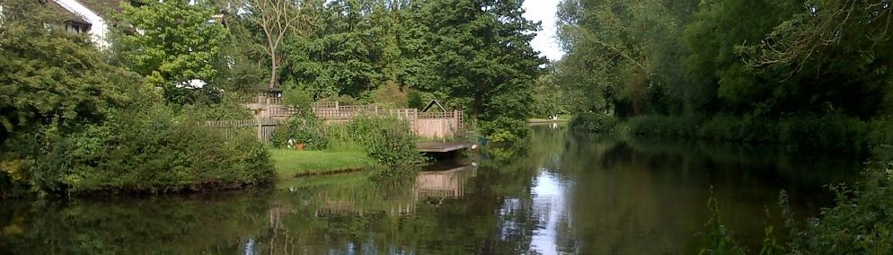 A view of the fishing venue Wey Navigation in north Guildford on a summer afternoon